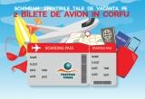 1 x doua bilete de avion dus-intors București-Corfu-București