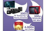 300 x consola Nintendo wii mini, 300 x TV Samsung + Home Cinema, 4000 x joc Caton