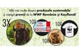 3 x excursie la zimbri și intalnire cu rangerii din Armeniș, 10 x voucher Kaufland de 200 lei, 5 x urș de pluș, 5 x ras de plus, 10 x tricou cu panda WWF