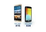 15 x smartphone HTC M9+, 30 x smartphone LG L Finosi