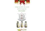 3 x premiu constand intr-un ceainic cu ceasca si farfurie si 3 ceaiuri de 100 de grame