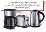 1 x set de mic dejun compus din:Cafetiera RUSSELL HOBBS Chester 20150-56 + Fierbator de apa RUSSELL HOBBS Chester 20420-70 + Prajitor de paine RUSSELL HOBBS Chester 20720-56