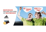 10 x card de carburant MOL Blue de 3000 lei, 100 x voucher pentru echipament sportiv Adidas de 740 ron