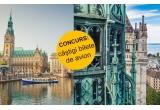 4 x 2 bilete de avion dus-intors la Amsterdam/ Hamburg/ Geneva sau Paris
