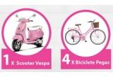 1 x scuter Vespa, 4 x bicicleta Pegas, 10 x brațara Pandora cu un charm (talisman)