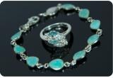 50 x inel + brațara din argint cu pietre semiprețioase pentru tine si prietena ta