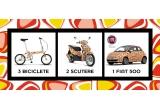 1 x masina Fiat 500 cu model La Strada Mango,  2 x Scuter Piaggio Liberty 50 2T cu model La Strada Mango, 3 x Bicicleta pliabila ROMET cu model La Strada Mango