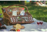 1 x cos de picnic de 2 persoane Saint-Michel dotat cu vesela + pahare + tacamuri pentru 2 persoane + solnite + briceag multifunctional