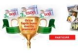 3 x voucher de cumparaturi Carrefour de 1.500 lei, 3 x voucher de cumparaturi Carrefour de 800 lei, 3 x voucher de cumparaturi Carrefour de 500 lei