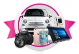 1 x masina Fiat 500 Bianco, 1 x iPhone 6S, 1 x Laptop 2 in 1 ASUS TP501UA-DN021T, 1 x aparat foto Canon EOS 700D, 1 x Ondulator Babyliss Curl Secret C1200E + Uscator de par BaByliss Pro Light 6610DE, 1 x Placa de indreptat parul BaByliss I-Pro ST387E, 1 x Smartwatch Pebble 301WH, 1 x Tableta Samsung Galaxy Tab E T561, 1 x Aparat de fotografiat digital Nikon COOLPIX WATERPROOF W100, 1 x Caști audio tip DJ Marshall Major White, 3 x Kit de Rasfat, 10 x Kit de make-up