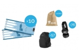 10 x 2 bilete de avion la Amsterdam, 12 x city break Amsterdam, 1000 x kit format din plic de tutun Chesterfield + foite + filtre + saculet, 57 x rucsac Samsonite, 76 x casti wireless