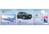 1 x masina Audi Q5, 5 x Smart TV Ultra HD Curbat, 10 x iPhone 8
