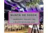 1 x voucher de 5000 euro pentru evenimentul tau, 1 x telefon Samsung Galaxy S8+, 2 x 2 bilete pentru petrecerea de revelion la Press House Ballroom