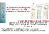 un parfum Laura Biagiotti , 5 x seturi Dove Firming ( un gel de dus, o lotiune de corp, un gel-crema de corp), In plus, Femeia. te poate premia cu un machiaj profesionist si o sedinta foto pentru unul dintre materialele din revista.<br />