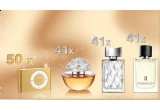 "41 x parfum ""In Bloom by Resse Witherspoon"",41 x parfum ""Spotlight"", 41 x parfum ""Unscripted"", 50 x iPod"