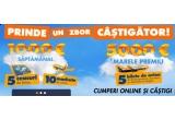Saptamanal: 1.000 de euro, 10 x macheta de avion, 5 x ceas de birou; 5.000 de euro; 5 x bilete Blue Air pentru doua persoane spre orice destinatie