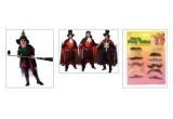 un Costum Vampir, Mustati petrecere + Palarie Vrajitoare, un set de bratari si coliere fosforescente