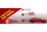 5952 x coduri de reincarcare pentru cartele pre-paid de 5 euro fara TVA, 310 x o bicicleta, 5 x o masina / suma de 10.000 Euro
