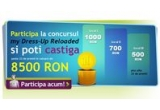 cumparaturi in valoare de 1000 RON, cumparaturi in valoare de 700 RON, 2 x cumparaturi in valoare de 500 RON, 17 x discount 50% in limita sumei de 600 RON, 1 x 500 RON, 1 x 300 RON, 1 x 200 RON