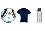 mingea oficiala a Campionatul Mondial de Fotbal 2010 din Africa de Sud, un tricou pronofun.ro, o sticla din aluminiu pronofun.ro